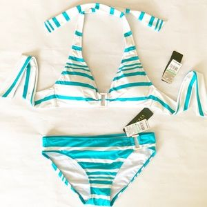 LAUREN 2 Piece Swim Suit Bright White & Turquoise